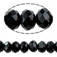 Kristal rondel hand geslepen zwart