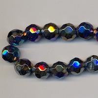 Kristal rond zwart AB kleur