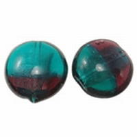 Turquoise/aubergine zilverfolie duo kleur